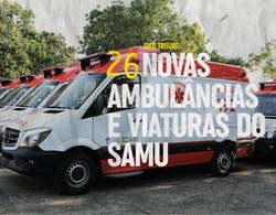 26 novas ambulâncias e viaturas do SAMU