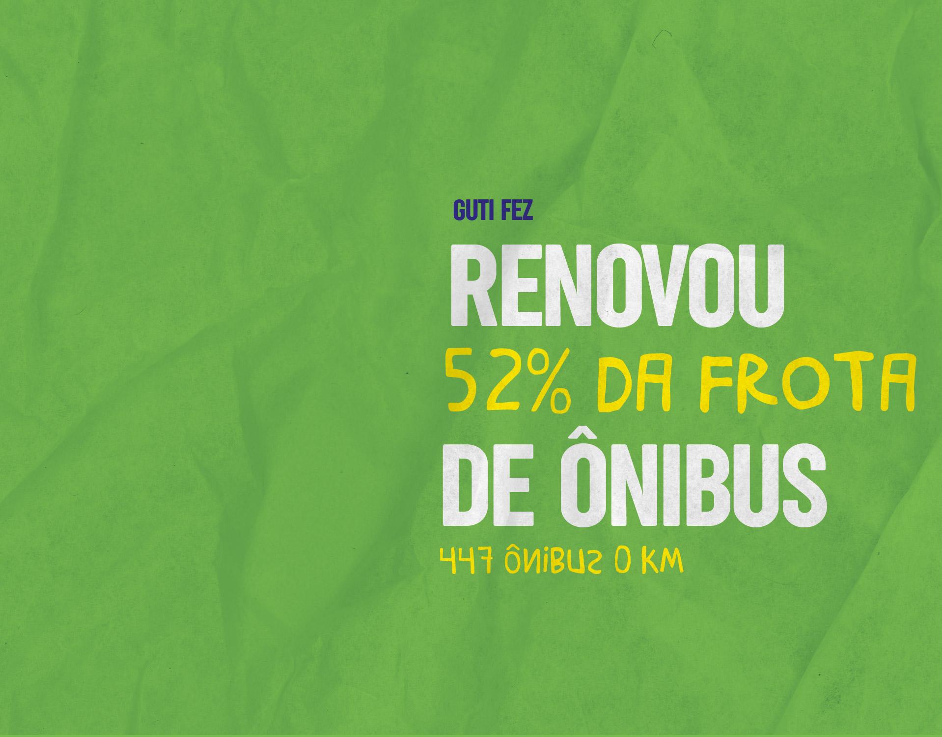 Renovou 52% da frota de ônibus - 447 ônibus 0 kM