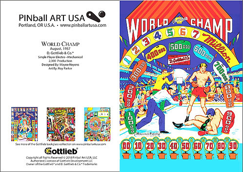 Gottleib World Champ Greeting Card Pinball Art USA