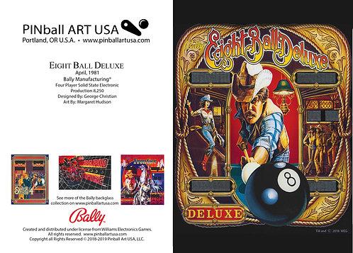 Eight Ball Deluxe 1981 Bally Pinball Machine Backglass