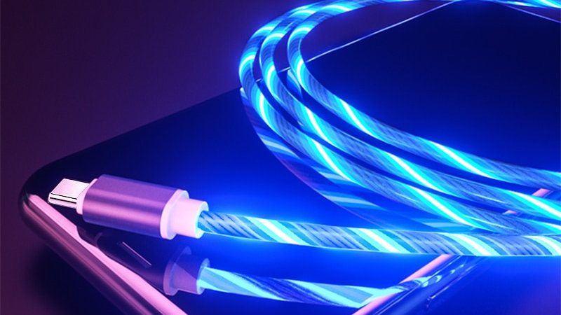 Glowing Data Charging Cables LED Micro USB Type C  Lightning