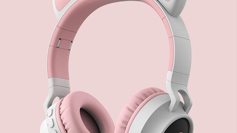 Led Light Cat Ear Wireless Bluetooth 5.0 Foldable Kids Headphone With Microphone