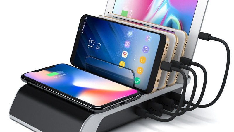 Fast Wireless Charger QC 3.0 Multi USB Port Charging Dock Station