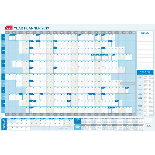 SASCO 870mm X 610mm Yearly Wall Planner 2019