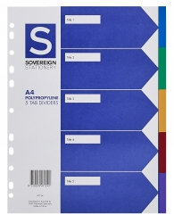 A4 POLYPROPYLENE 5 TAB DIVIDERS