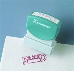 X-STAMPER 1196 PRE INKED OFFICE STAMP SCANNED RED