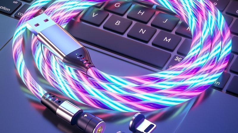 540 Rotation LED Lighting Magnetic USB Charging Cable Micro USB Type C Lightning