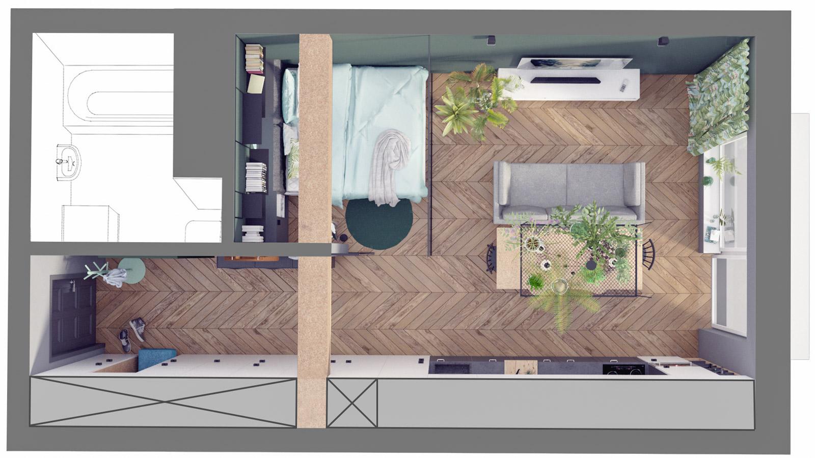 MA Zielone studio - rzut aranżacja