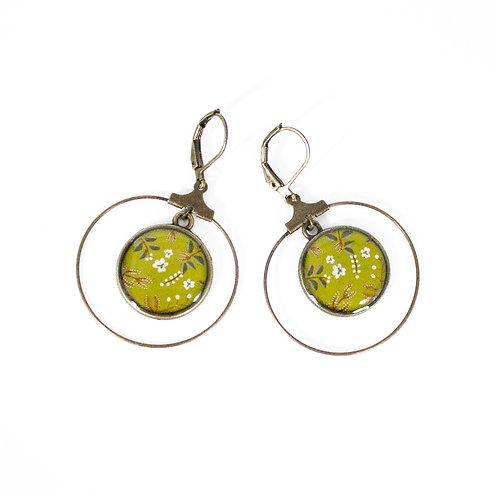 Lilipoetry — Boucles d'oreilles Créoles Floral Olive