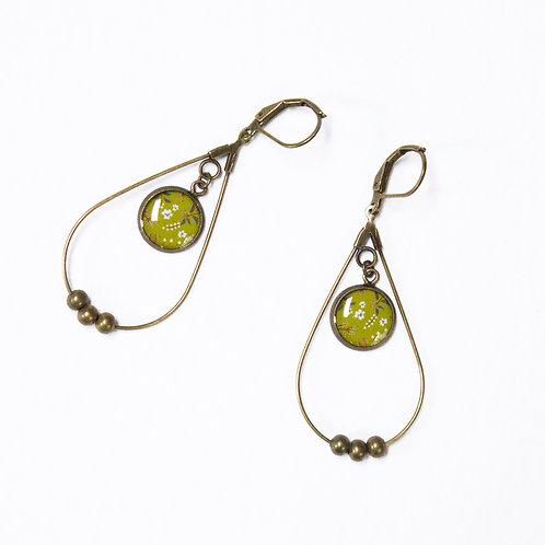 Lilipoetry — Boucles d'oreilles Drop Floral Olive