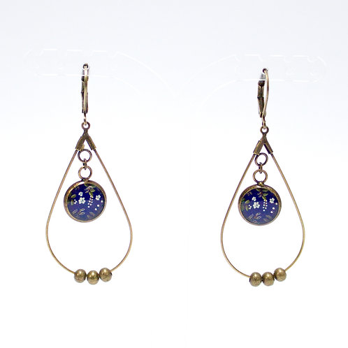 Lilipoetry — Boucles d'oreilles Drop Floral Indigo