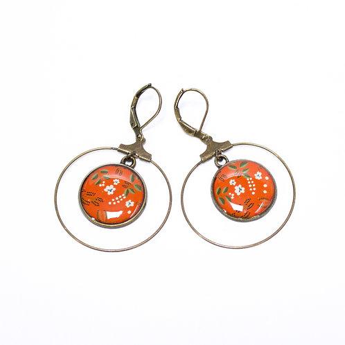 Lilipoetry — Boucles d'oreilles Créoles Floral Orangé