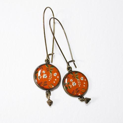 Lilipoetry — Boucles d'oreilles Breloques Floral Orangé