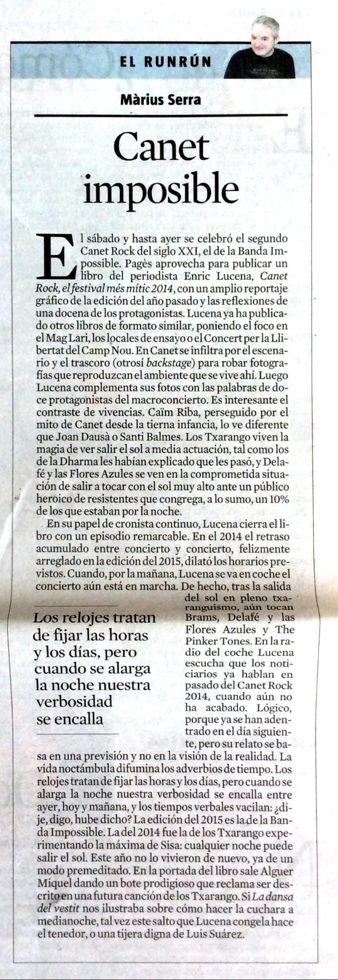 La Vanguardia. 6 juliol 2015