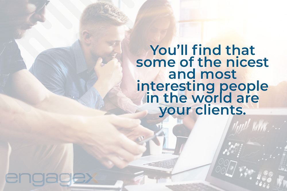 """Insurance agency staff meeting with text overlay: """"you'll find that some of the nicest and most interesting people in the world are your clients."""""""