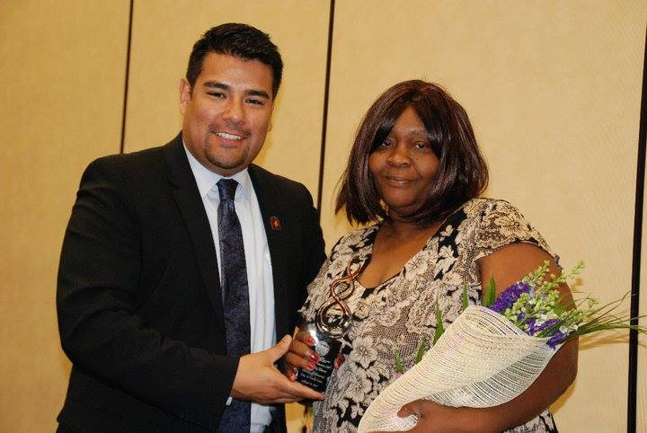 """Ricardo Lara, CA Assemblymember District 64, honoring Mary Johnson with the """"Woman of Distinguish for the city of South Gate"""" award"""
