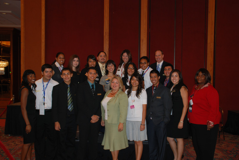 Linda Sanchez, U.S. Congresswoman representing the 38th District of California, sharing a moment with students and teachers from Southeast area schools, at the DNC in Denver, CO