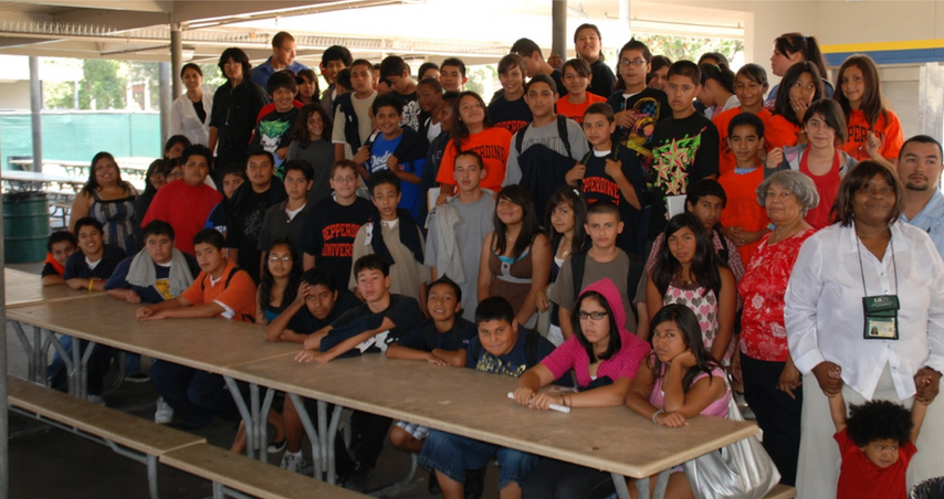 Scholars from the Futures Academy College Access Program at South Gate Middle School