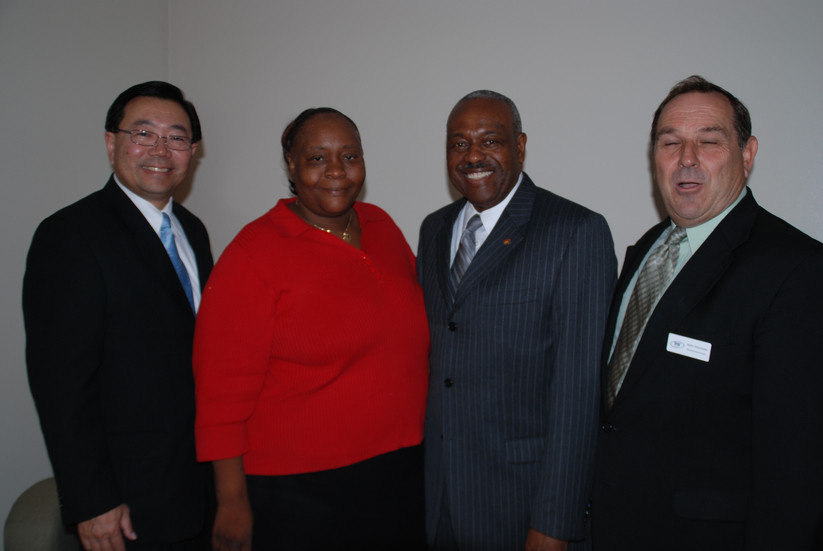 Community Leaders Stewart Kwooh of Asian Pacific, LAUSD Superintendent David Brewer,  LA Parent Collaborative President Mary Johnson and local PTA president