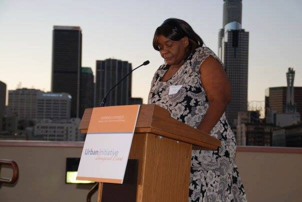 Mary Johnson speaks at Pepperdine University's Urban Initiative Launch, on the rooftop of the Union Rescue Mission in Downtown, Los Angeles