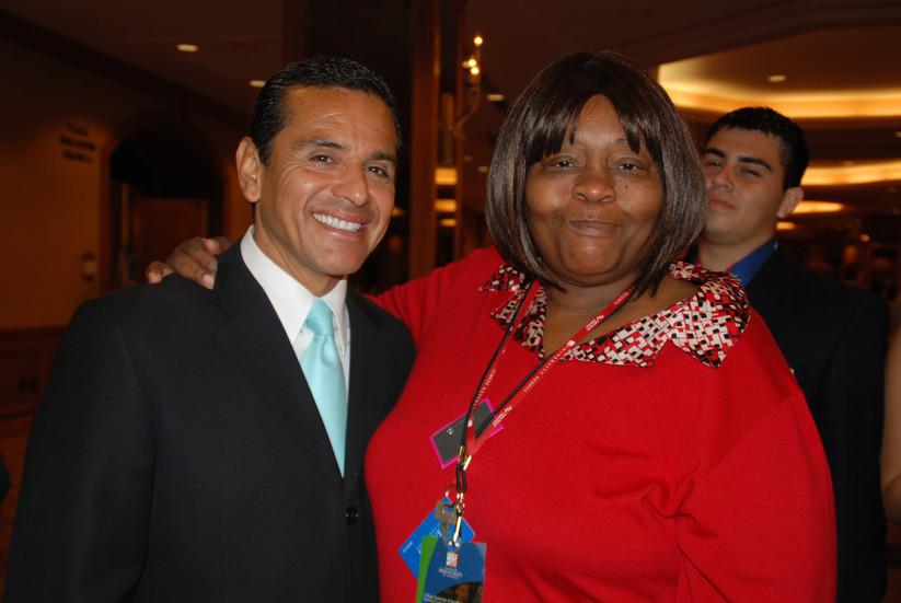 Former Los Angeles Mayor, Antonio Villaraigosa, and Mary Johnson at a DNC conference in Denver, CO