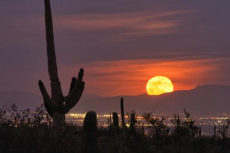 Supermoon Rising over Superstition Mountains - Phoenix, Arizona