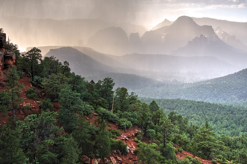 "Rain ""curtains"" during storm in Sedona"