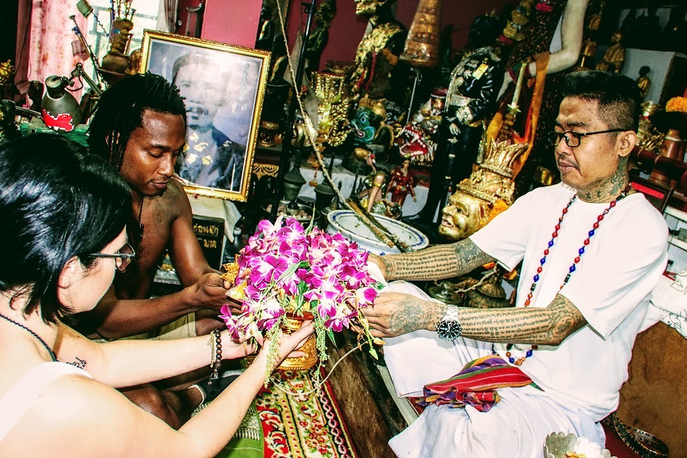 Ceremony after a Sak Yant Tattoo in Thailand