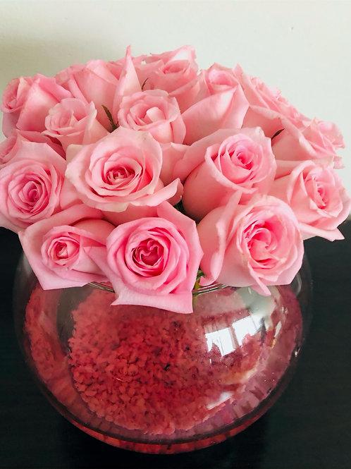 Tazón de las rosas rosas
