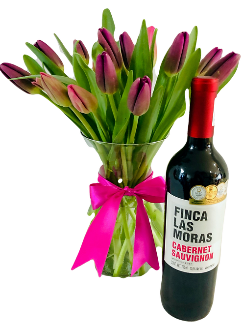 Set de tulipanes con vino