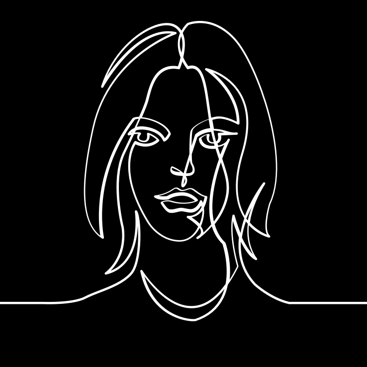 Black and white linear illustration of a woman