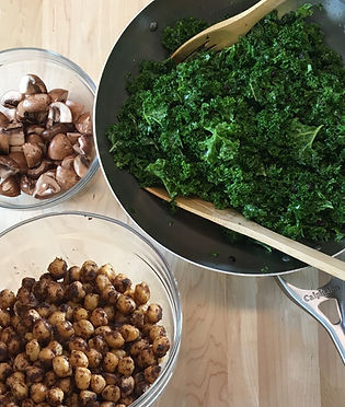 Close-up of kale salad and vegetables