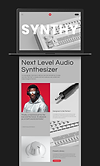 Website mockup for a synthesiser brand