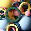 Close up of 3d circle design