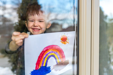 Young kid with his painting