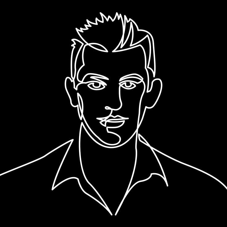 Black and white linear illustration of a man