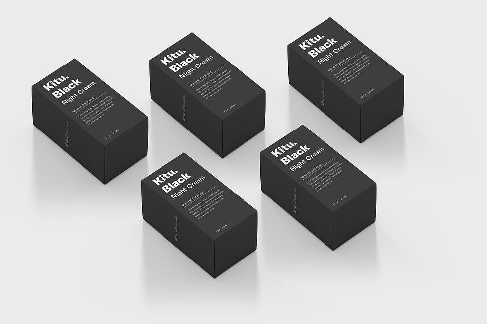 Black packaging with white text