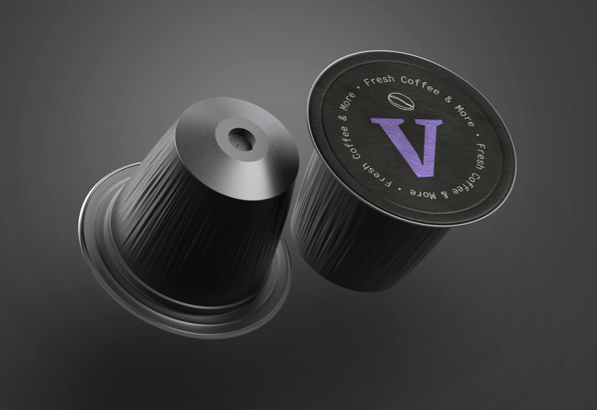Coffee capsules close up
