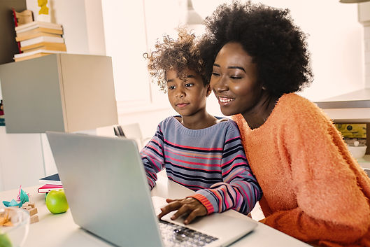 Mother and child using a computer