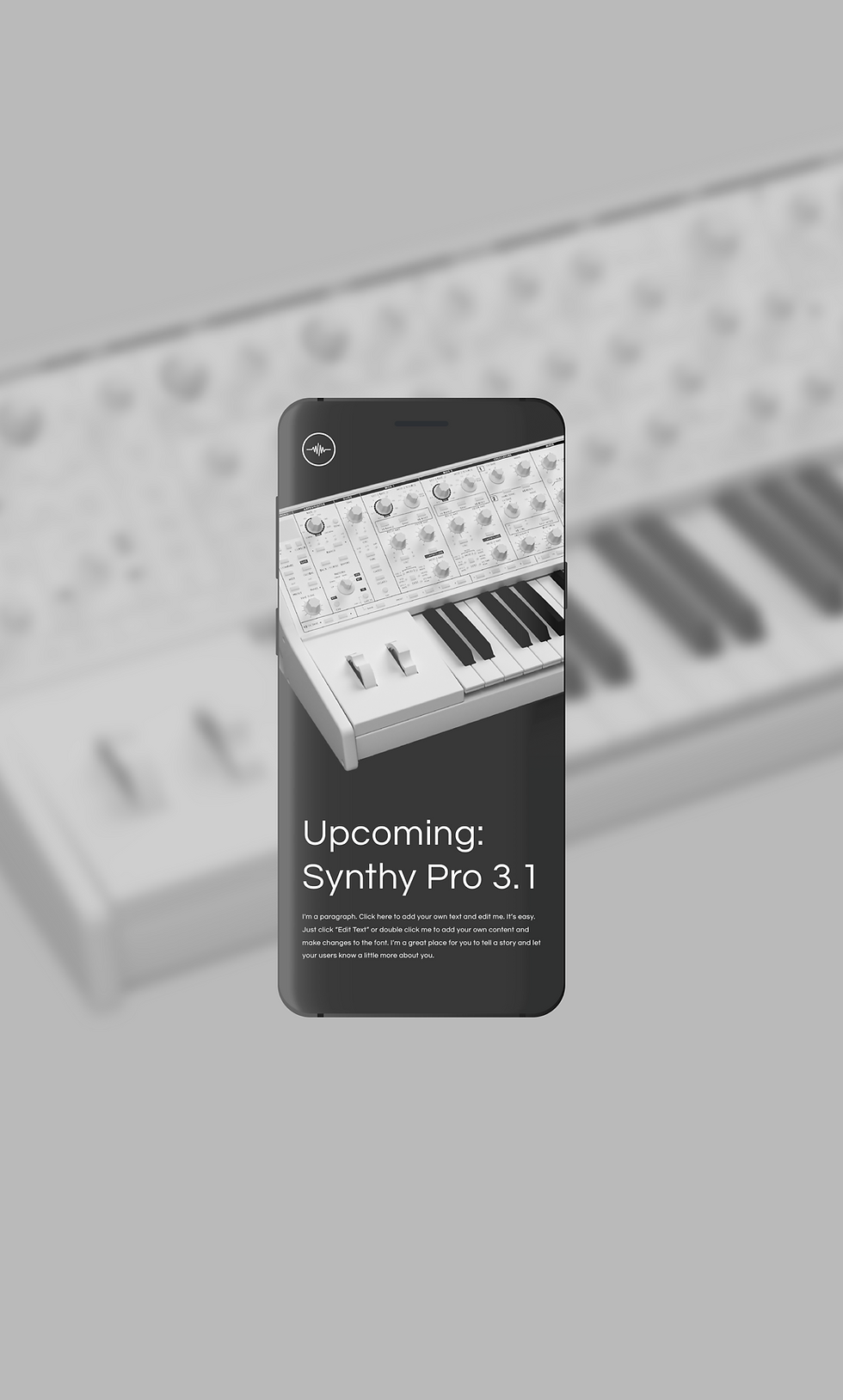 Cell phone mock up of a synthesiser brand