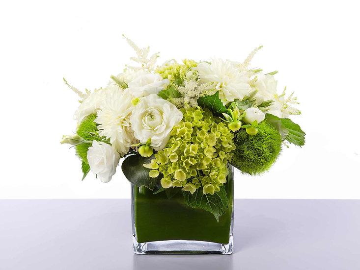 Green Hydrangeas & White Roses