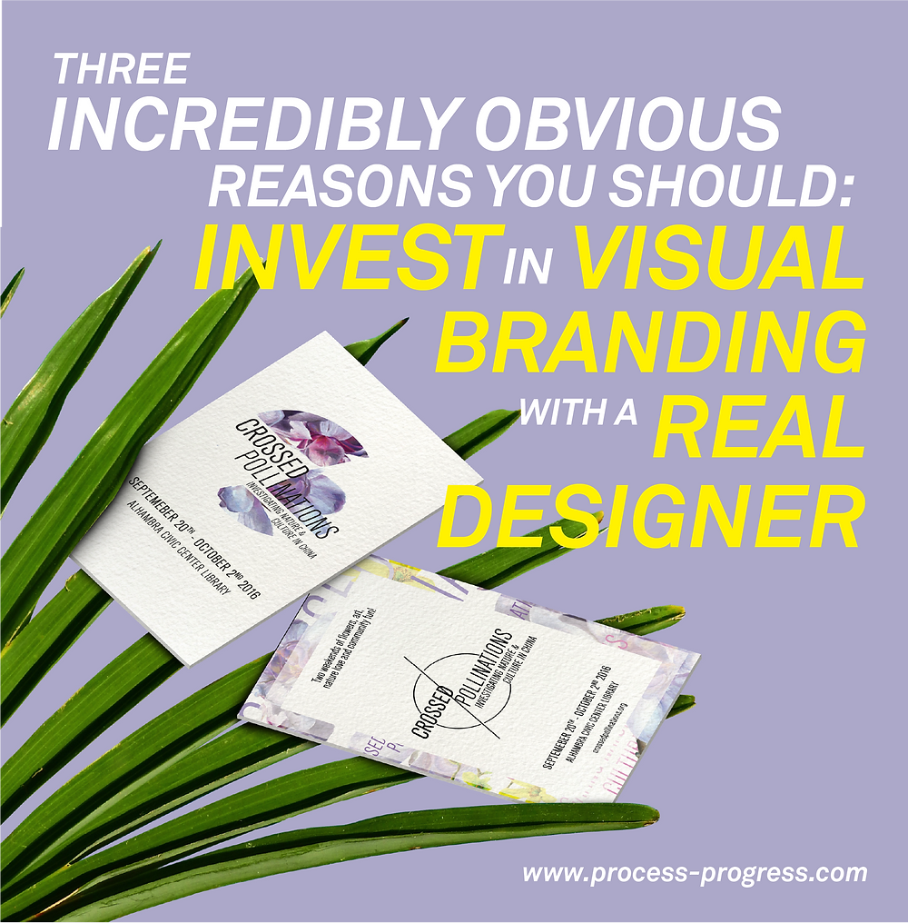 "A purple image with leaves in the corner and branded business cards. Typography in white and yellow that reads ""Three incredibly obvious reasons you should invest in visual branding with a real designer."""