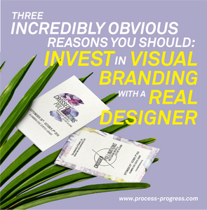 """A purple image with leaves in the corner and branded business cards. Typography in white and yellow that reads """"Three incredibly obvious reasons you should invest in visual branding with a real designer."""""""