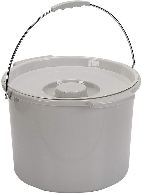 Commode Pail with Lid 12 Quart Gray, 2.38 Pound