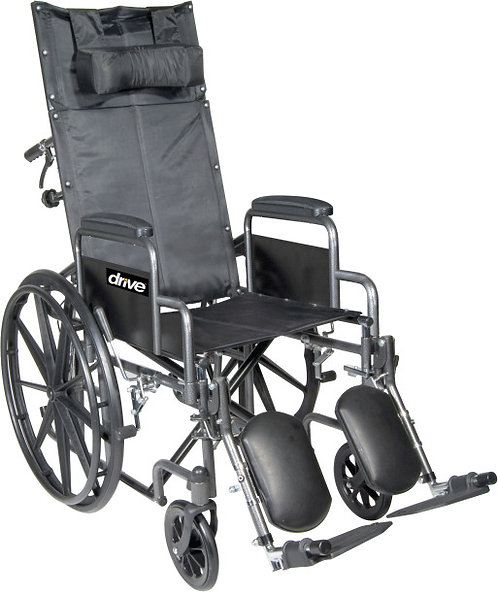 "Silver Sport Full-Reclining Wheelchair 18"" with Elevated Leg rest"