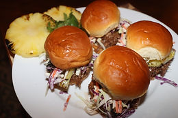 Hawaiian Sweet Roll Pulled Pork Sliders with Homemade Coleslaw and Pineapple