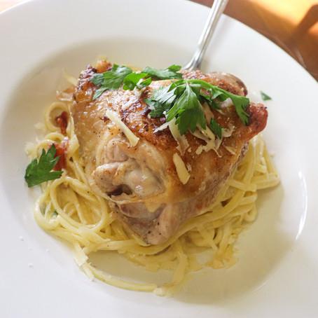 Garlic Chicken Alfredo with Crispy Prosciutto