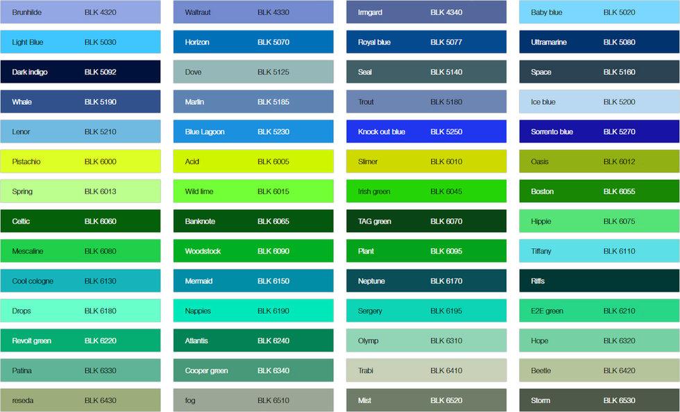 Варианты цветов краски для рекламы на асфальте немецкого производства Монтана Блэк.