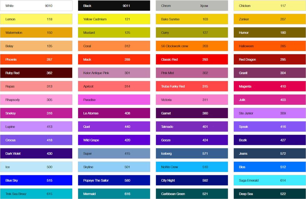 Варианты цветов для рекламы на асфальте краски российского производства Артон.
