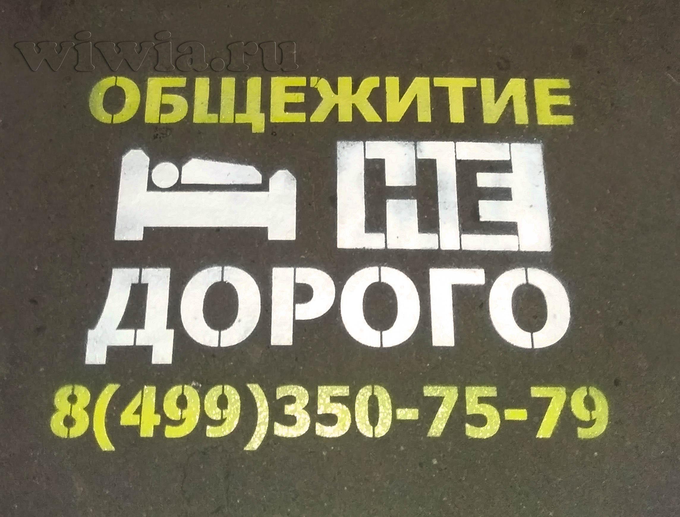Реклама на асфальте. Общежитие.